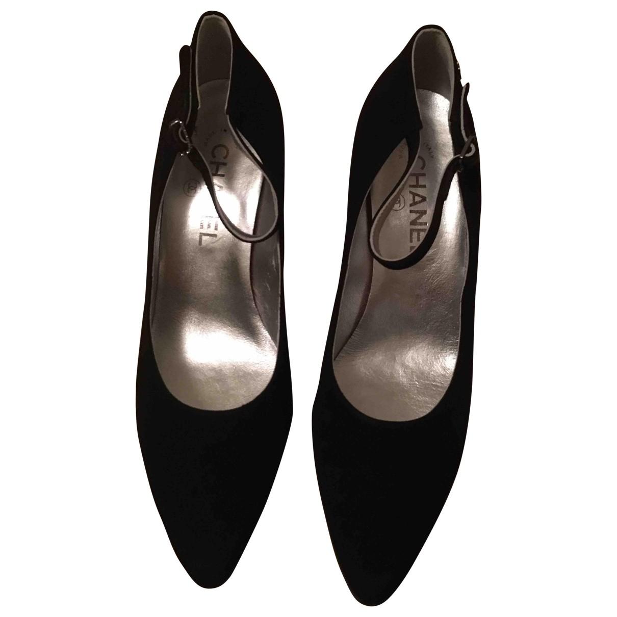 Chanel N Black Suede Heels for Women 38 EU
