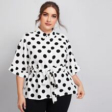 Plus Collared Buttoned Front Drawstring Waist Polka Dot Blouse