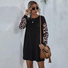 T-Shirt Kleid mit Leopard Muster und zwei Taschen