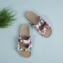 Sandalen mit Blumen Grafik und Schnalle Dekor