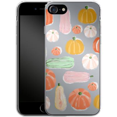 Apple iPhone 7 Silikon Handyhuelle - Pumpkin Pattern Grey von Mukta Lata Barua