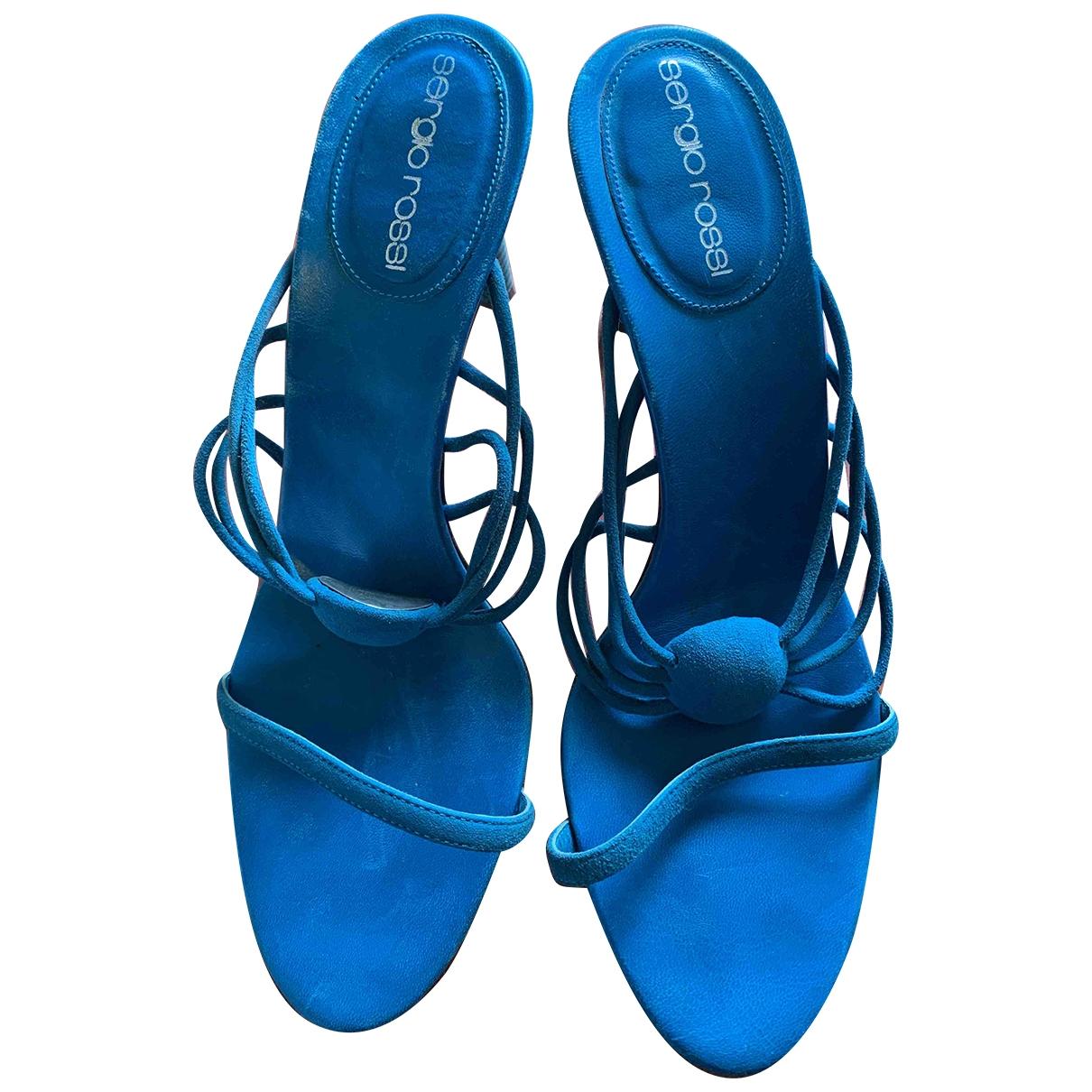 Sergio Rossi - Sandales   pour femme en cuir - turquoise