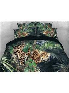 3D Leopard on the Jungle Digital Printed 4-Piece Bedding Sets/Duvet Covers