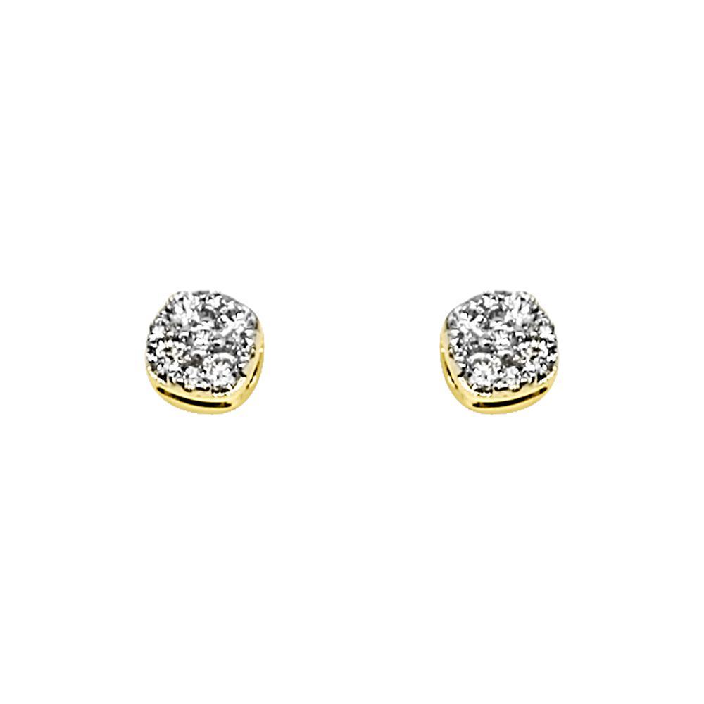 14K Yellow Gold 0.25 Carats Diamond Mini Cluster Earrings