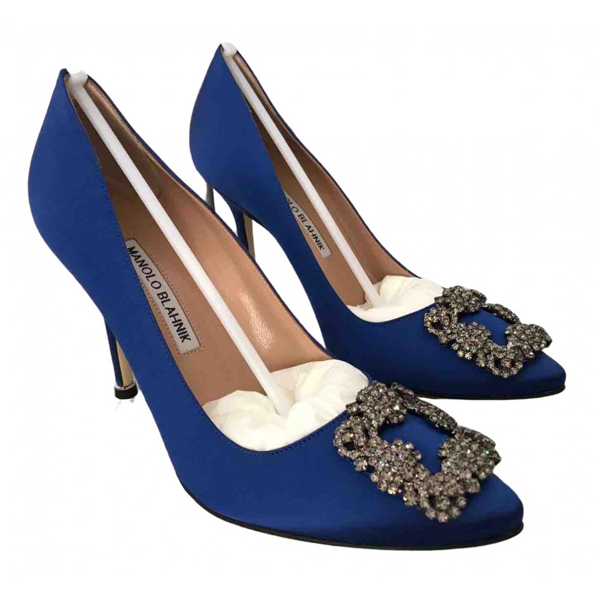 Manolo Blahnik Hangisi Blue Cloth Heels for Women 38.5 EU
