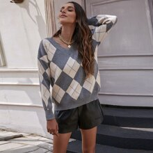 Argyle Pattern Drop Shoulder Sweater