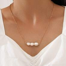 Faux Pearl Charm Necklace