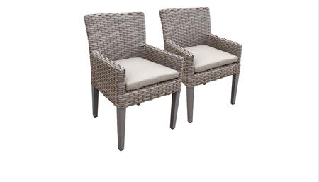 Florence Collection FLORENCE-TKC297b-DC-C-BEIGE 2 Dining Chairs With Arms - Grey and Beige