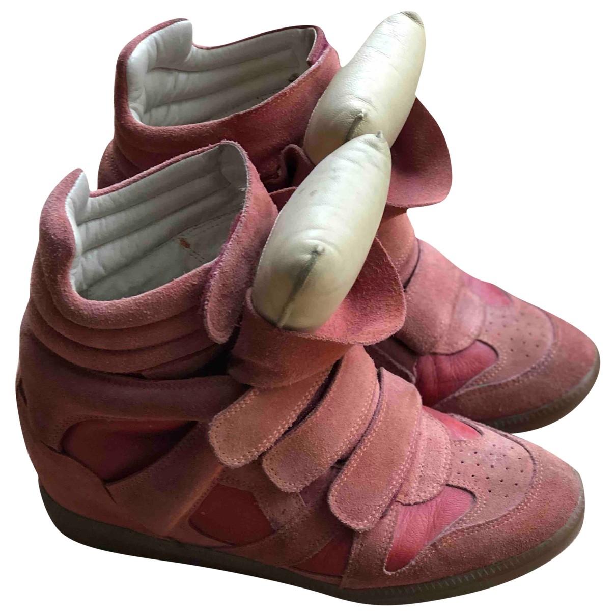 Isabel Marant Beckett Sneakers in  Rot Veloursleder