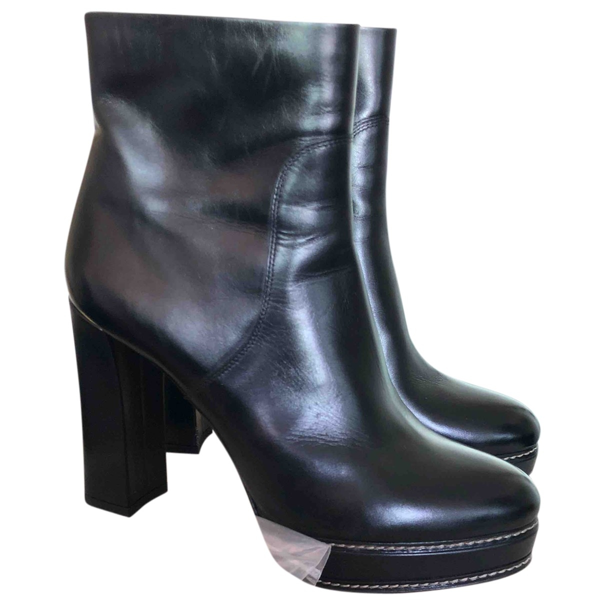 Santoni \N Black Leather Ankle boots for Women 38 EU