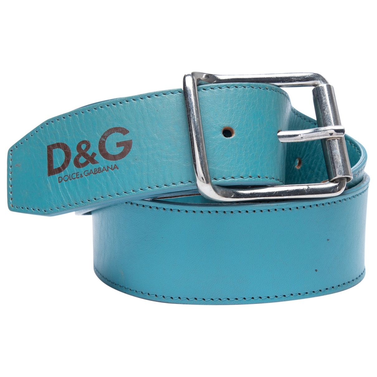 D&g \N Blue Leather belt for Women 80 cm