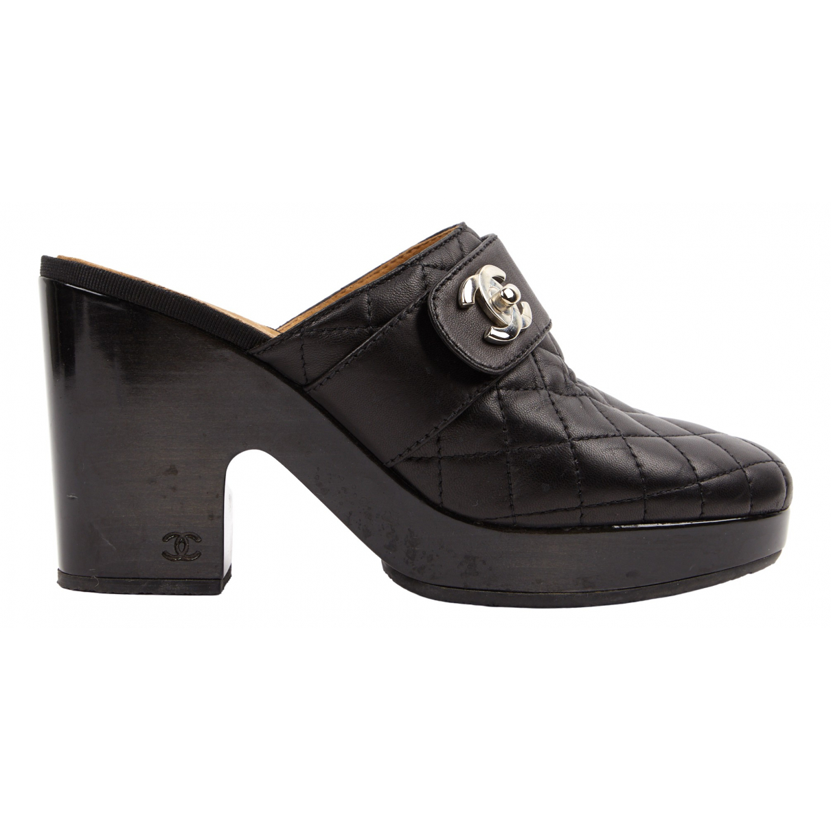 Chanel \N Black Leather Mules & Clogs for Women 40.5 EU