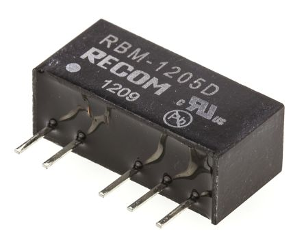 Recom RBM 1W Isolated DC-DC Converter Through Hole, Voltage in 10.8 → 13.2 V dc, Voltage out ±5V dc