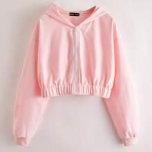 Zip Up Drop Shoulder Hooded Sweatshirt