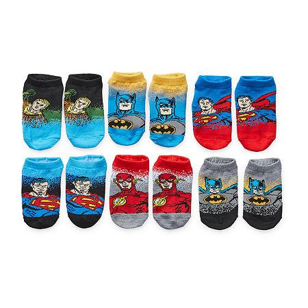 Little Boys 6 Pair Justice League No Show Socks, 4-6 , Gray