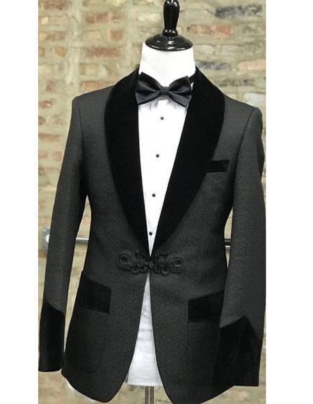 Men's Single Breasted 1 Button Black Shawl Lapel Tuxedo