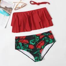 Bikini Badeanzug mit Blumen Muster und Rueschen