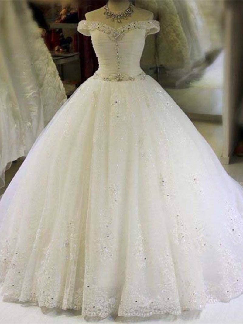 Ericdress Off The Shoulder Beaded Ball Gown Wedding Dress