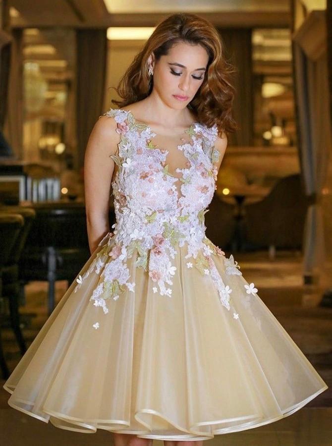 Superbes robes de retour de fleurs A-Line | Robe courte Hoco sans manches a dos ouvert