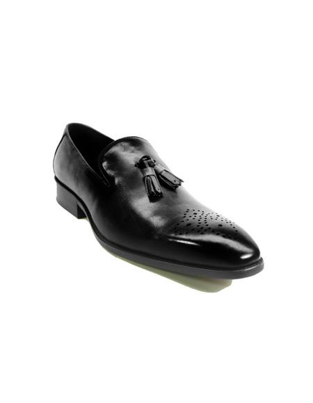 Mens Slip On Leather Tassel Loafers by Carrucci - Black