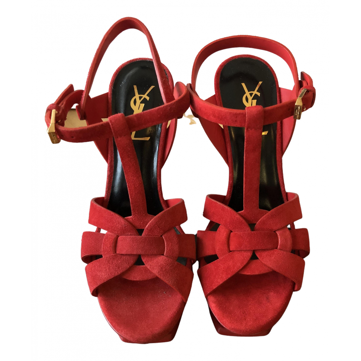 Saint Laurent - Sandales Tribute pour femme en suede - rouge