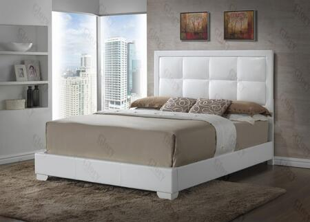 Panello Collection G2594-QB-UP Queen Size Bed with Low Profile  Tufted Headboard and Faux Leather Upholstery in White