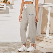 Drawstring Waist Slogan Sweatpants