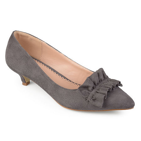 Journee Collection Womens Sabree Pumps Kitten Heel, 10 Medium, Gray