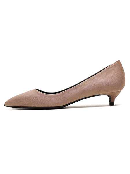 Milanoo Green Kitten Heels Pointed Toe Slip On Pumps For Women