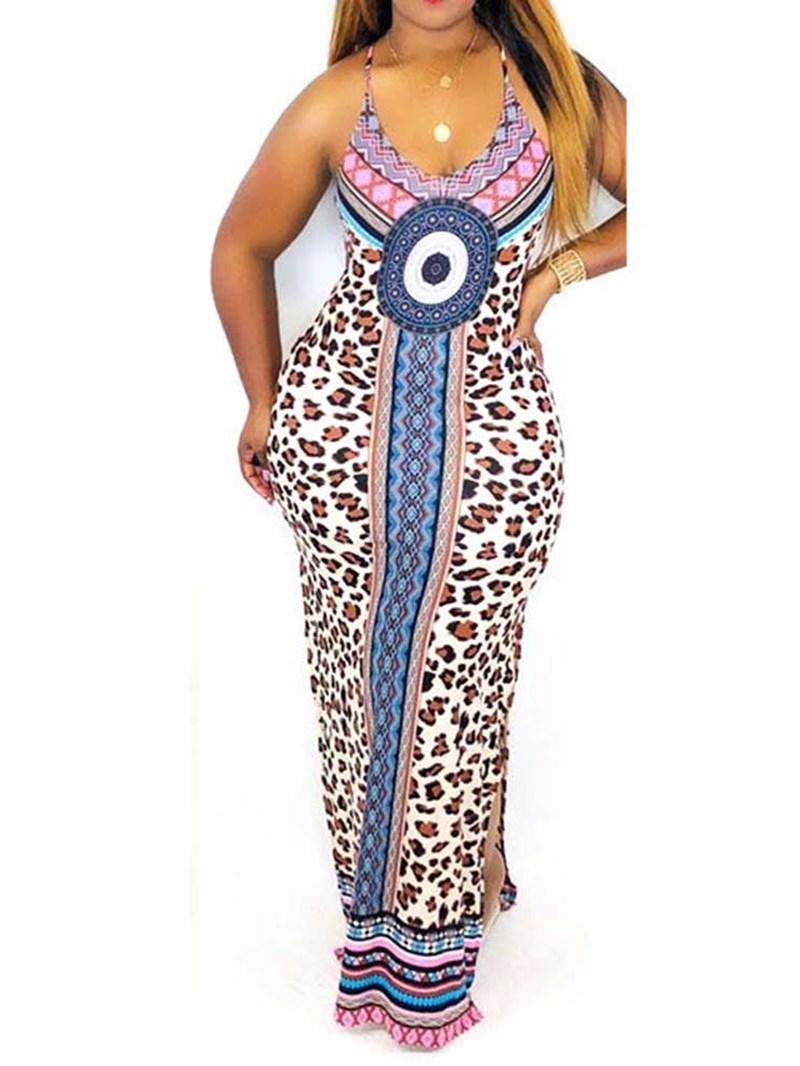 Ericdress African Fashion Floor-Length Sleeveless Bodycon Geometric Dress
