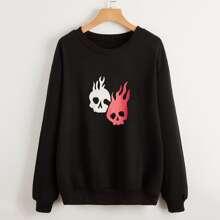 Sweatshirt mit Schaedel Muster und sehr tief angesetzter Schulterpartie