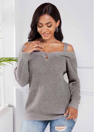 Trendy Light Grey Cold Shoulder Long Sleeve Sweater - XL