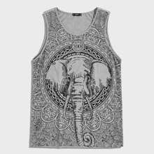 Maenner Tank Top mit Elefant und Stamm Muster