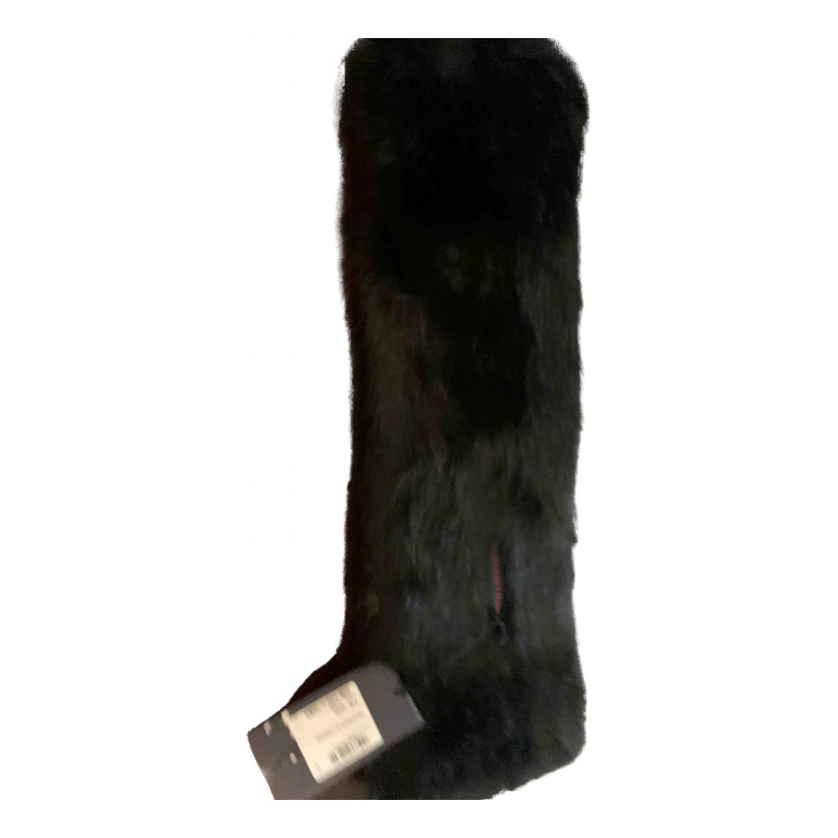 Trussardi Jean - Foulard   pour femme en fourrure - noir