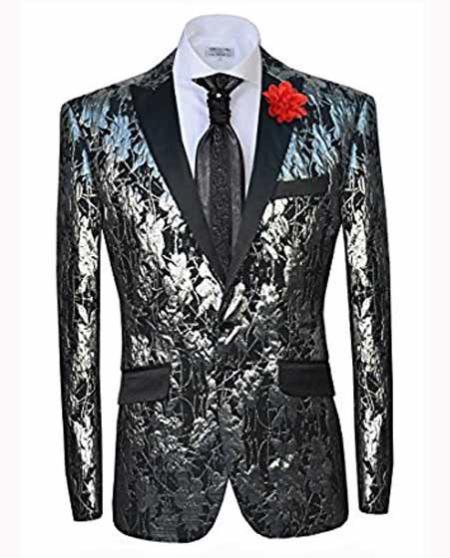 Men's Slim Fit Single Breasted 2ButtonPeak Lapel Silver Fashion Blazer