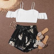 Plus Cold Shoulder Crop Top & Paperbag Waist Floral Shorts Set