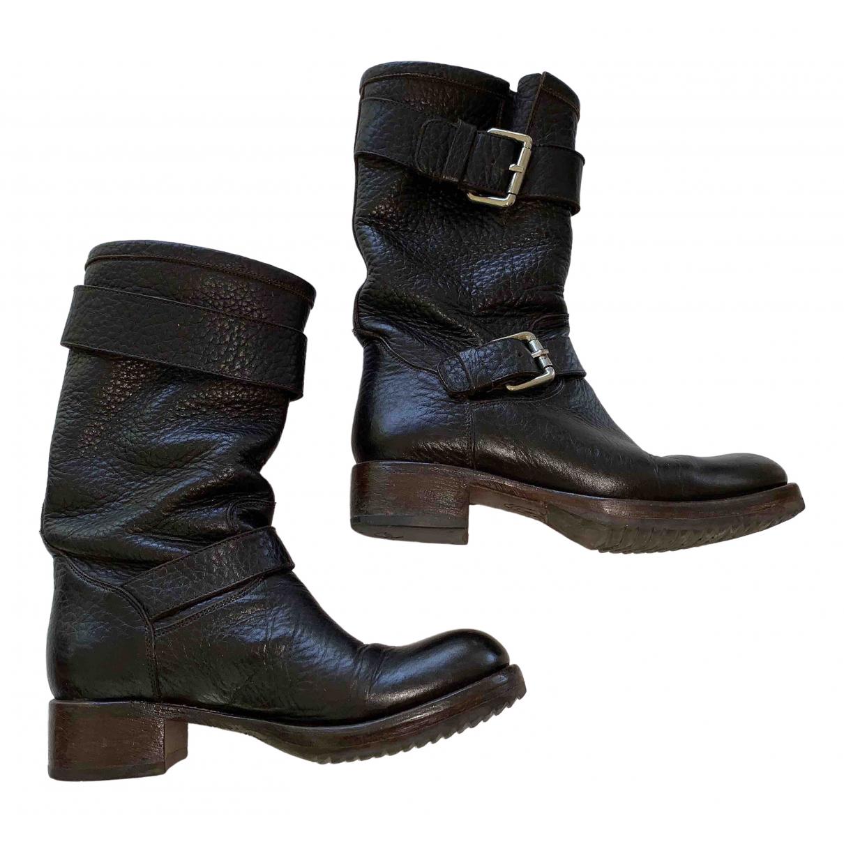 Free Lance - Boots Geronimo pour femme en cuir - marron