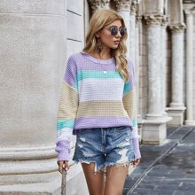 Waffle Knit Color Block Sweater