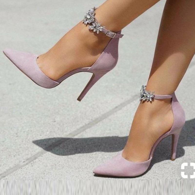 Ericdress Suede Rhinestone Pointed Toe Stiletto Heel Pumps
