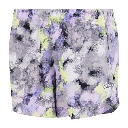 adidas Big Girls Mid Rise Workout Shorts, Large (14) , Purple