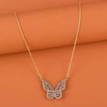 Halskette mit Strass und Schmetterling Dekor