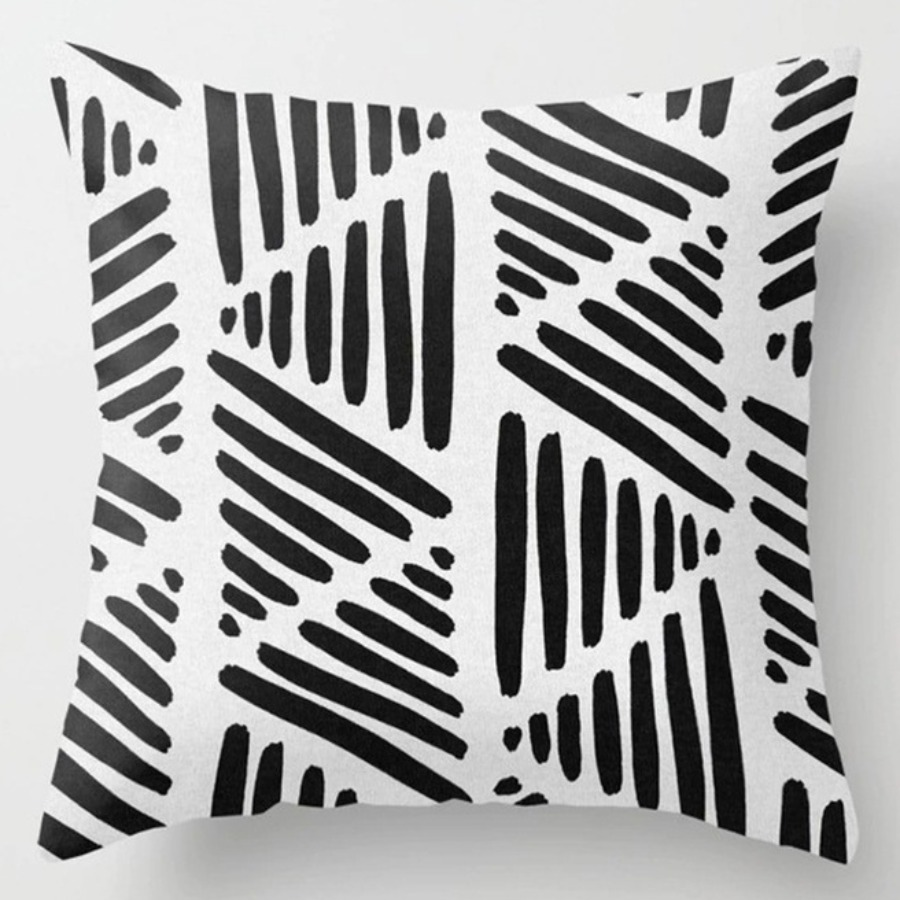 LW lovely Chic Striped Print Black And White Decorative Pillow Case