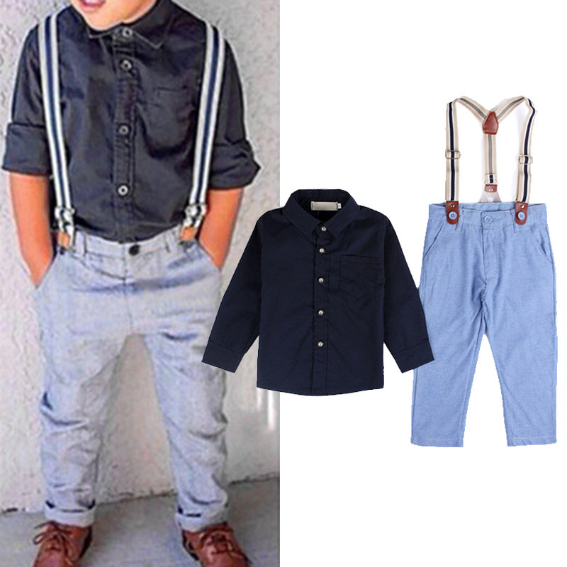3Pcs Solid Color Boys Sets Long Sleeve Tops+Pants+Strap For 1Y-7Y