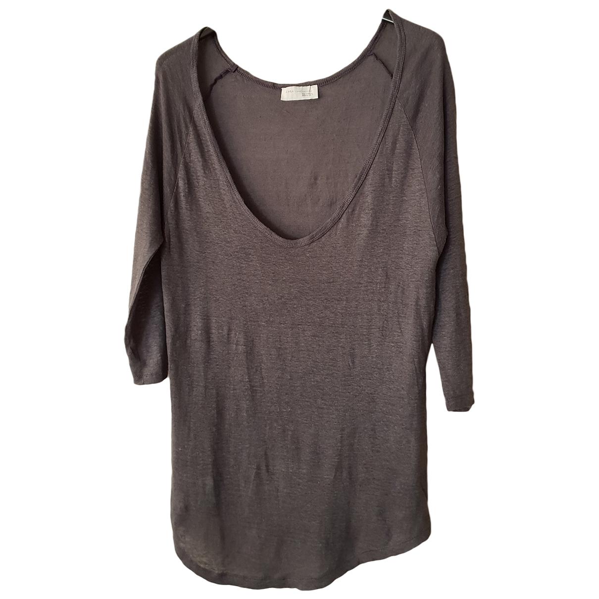 Zara - Top   pour femme en lin - gris