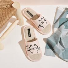 Zapatillas de lino con bordado de dibujos animados