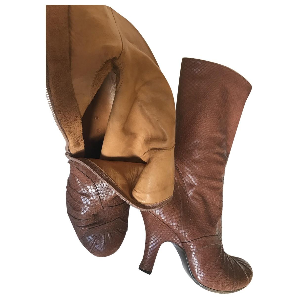 Chie Mihara - Boots   pour femme en cuir - camel