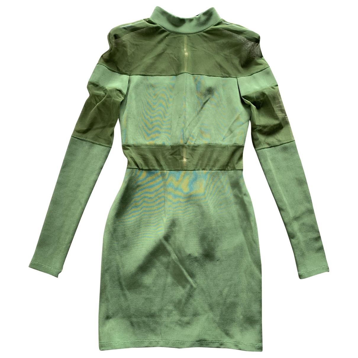 Balmain \N Kleid in  Gruen Baumwolle - Elasthan