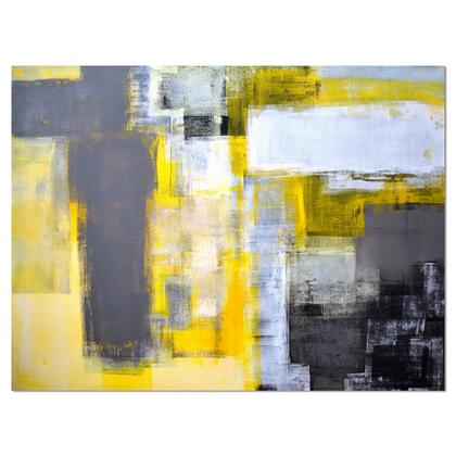 PT6269-40-30 Grey And Yellow Blur Abstract - Abstract Canvas Art Print -