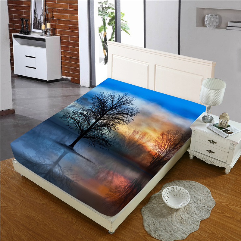 Black Branch and Sunrise Reactive Printing 1-Piece Polyester Bed Cover / Mattress Cover