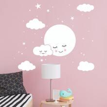 Moon & Cloud Print Wall Sticker